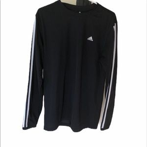 Adidas men's black 3 stripe long sleeve shirt